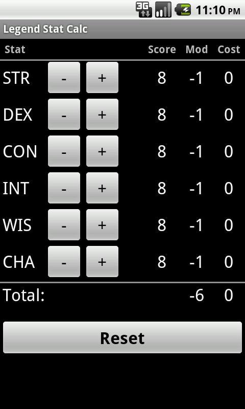 Legend Stat Calc - screenshot