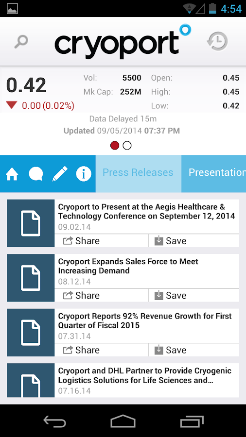 Cryoport Investor Relations - screenshot