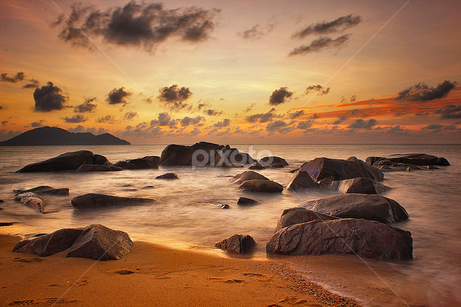 Barisan Batu by Dany Fachry - Landscapes Beaches ( canon, sand, coral, seascapes, seaside, 600d, coast, beaches, west kalimantan, indonesia, sunset, long exposure, landscapes, rocks,  )