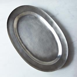 Wide Rimmed Antique Oval Pewter Platter