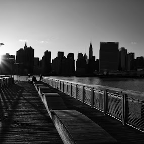 Midtown East by Katsuhiro Kaneko - Black & White Landscapes ( canon, monochrome, black and white, silhouette, empire state building, manhattan, nyc, new york, ny, chrysler building, city, un headquarters, eos, backlight, sunset, long island city, east river, midtown east, , Urban, City, Lifestyle )