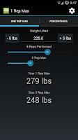Screenshot of 1 Rep Max Calculator