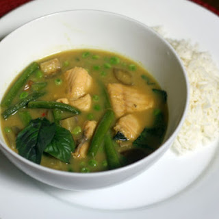 Green Curry With Lake Trout and Green Beans.