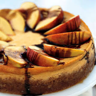 Peach and Mascarpone Cheesecake with Balsamic Syrup.