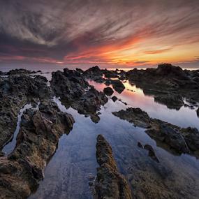Epic Sunrise at Pantai Pandak Dalam by Nur Ismail Mohammed - Landscapes Waterscapes ( reflection, epic, seascape, sunrise, rocks )