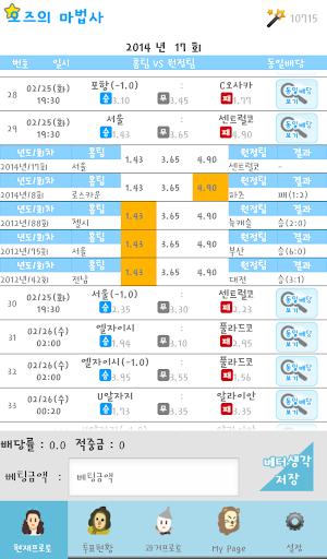 오즈 Odds 의 마법사 - 프로토 배당 분석 자료