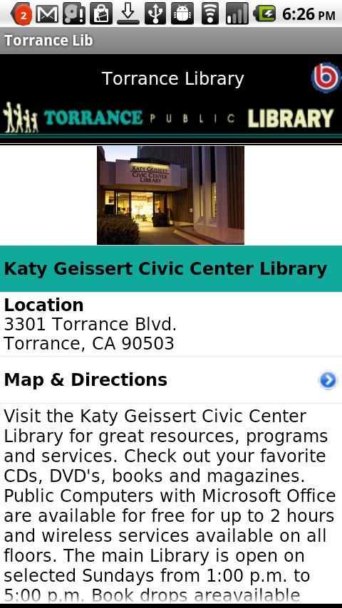 Torrance Library- screenshot