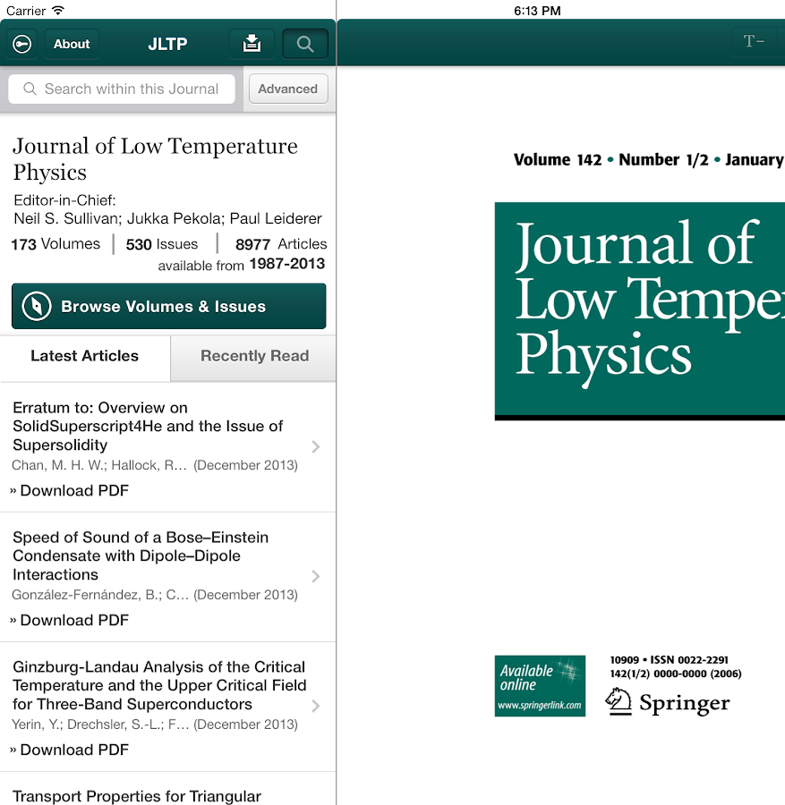 J of Low Temperature Physics - screenshot