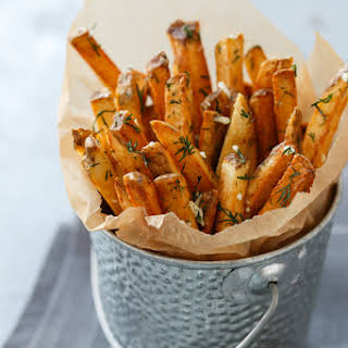 Homemade French Fries with Fresh Garlic and Dill.