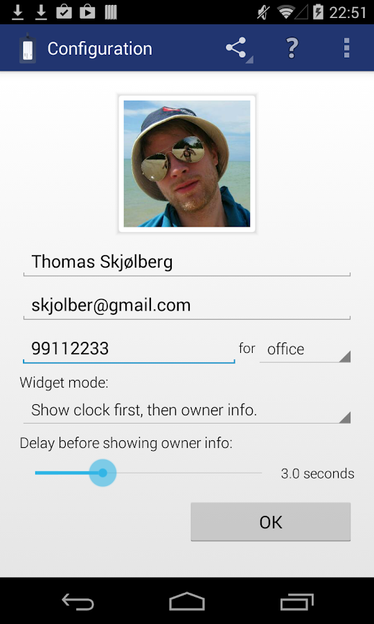 Instant Owner Info Widget - screenshot