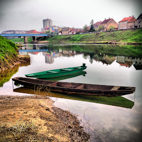 From the riverbank by Oliver Švob - Instagram & Mobile Android ( water, reflection, instagram, europe, surface, street, croatia, house, boat, hrvatska, riverbank, city, sony, urban, sony xperia, karlovac, kupa, tow, bridge, river, mobile, , color, colors, landscape, portrait, object, filter forge )