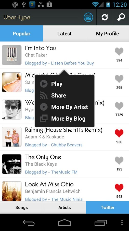UberHype for Hype Machine- screenshot