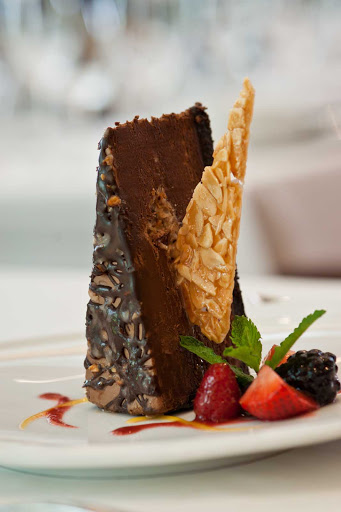 Royal-Caribbean-Chops-Grille-chocolate-dessert - Top off your meal with a decadent chocolate dessert at Chops Grille on your Royal Caribbean cruise.