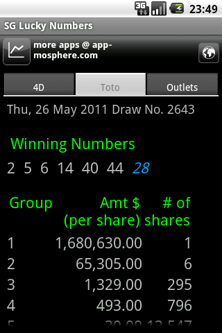 SG Lucky Numbers- screenshot