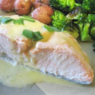 Poached Salmon with Hollandaise Sauce.