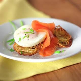 Potato Pancakes with Poached Eggs & Smoked Salmon.