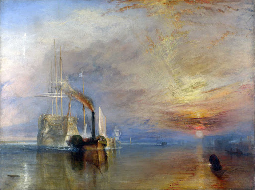 "Fighting-Remeraire-Turner-London - ""The Fighting Temeraire tugged to her last Berth to be broken up"" (1838), oil on canvas by J. M. W. Turner at the National Gallery in London."