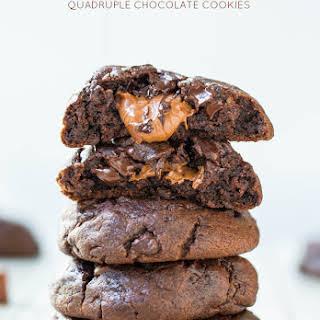 Caramel-Stuffed Quadruple Chocolate Cookies.