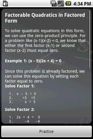 Algebra Tutor- screenshot
