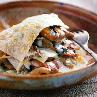 Open Lasagna of Mushrooms, Pine Nuts, and Thyme.