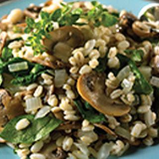 Spinach and Mushroom Barley Pilaf