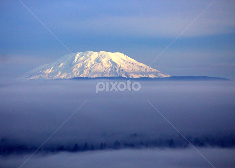 Mt. St. Helens at Dawn by Donald Darneille - Landscapes Mountains & Hills ( clouds, mountain, volcano, fog, snow )