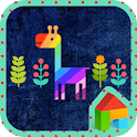 Colorful night giraffe dodol icon