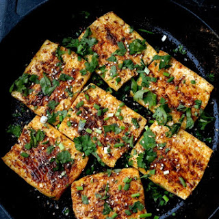 """Spicy Griddled Tofu """"Steaks""""."""