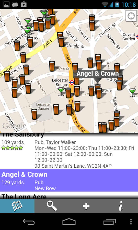 Find Pubs & Bars - screenshot