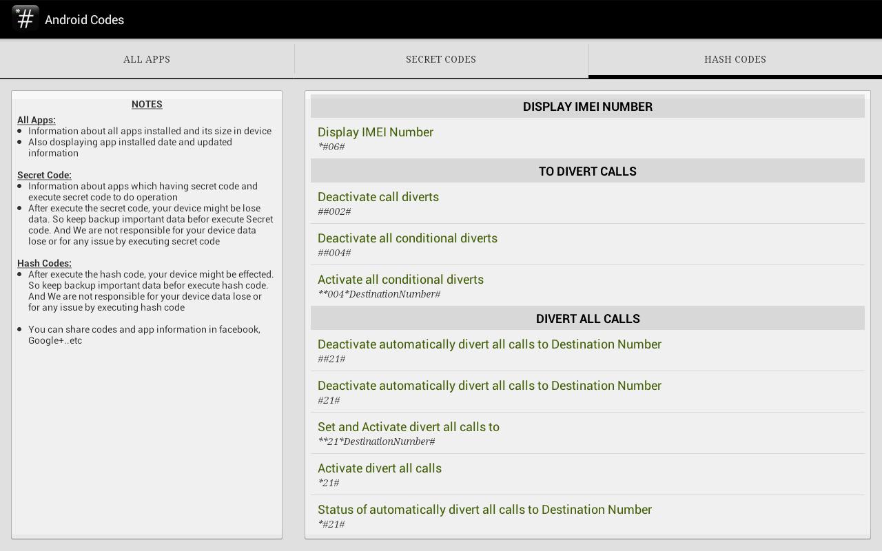 SECRET CODES && HASH CODES APK Latest Version Download - Free Tools