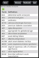 Screenshot of Med Abbreviations and Acronyms