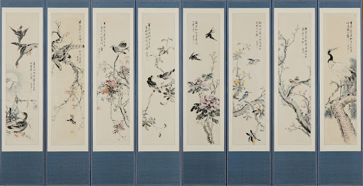 Folding screen of flowers and birds painting