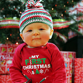 Lil Christmas elf by Debbie Sodeman-Roelle - Babies & Children Babies ( holiday, tree, christmas lights, christmas, baby, first )