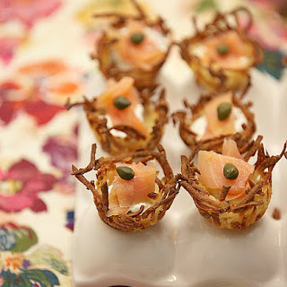 Hashbrown Potato Nests with Smoked Salmon