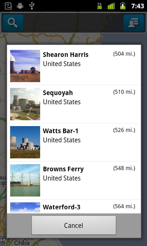 Nuclear Site Locator- screenshot