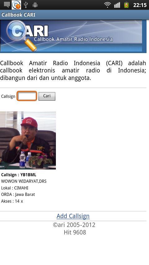 Callbook Cari- screenshot