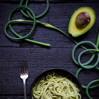 Creamy Avocado Pasta with Garlic Scape Pesto.