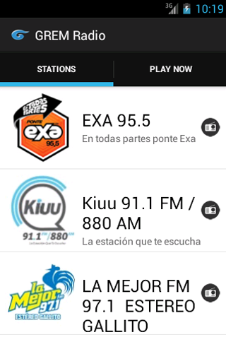 GREM Radio: captura de pantalla