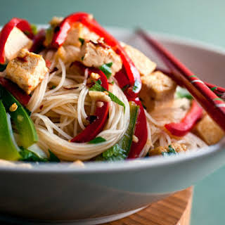 Stir-Fried Noodles With Tofu and Peppers.