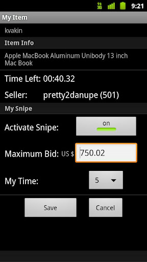 Myibidder Bid Sniper for eBay screenshot