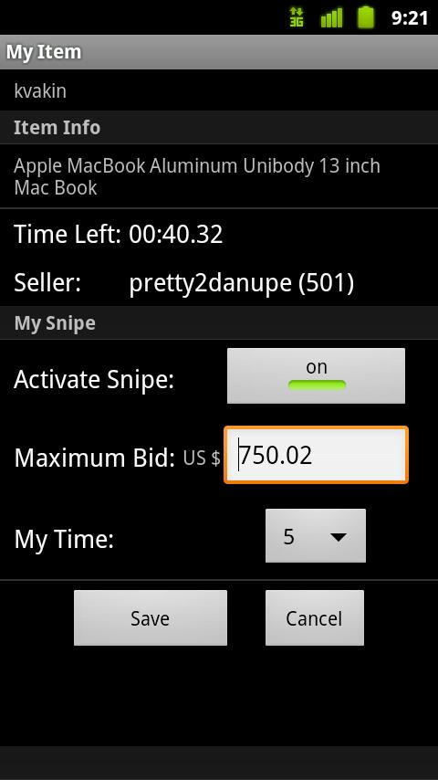 Myibidder Bid Sniper for eBay - screenshot