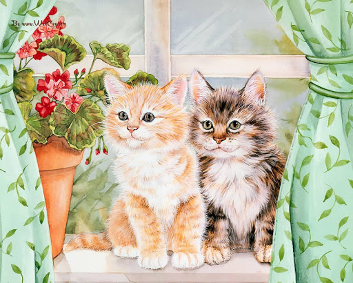 Hand-painted Cats HD Wallpaper