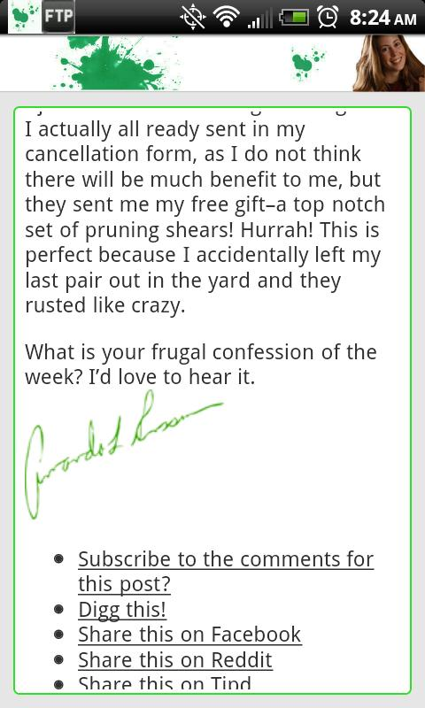 Frugal Confessions - screenshot