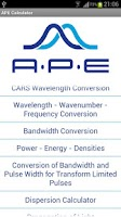 Screenshot of APE Optics Calculator