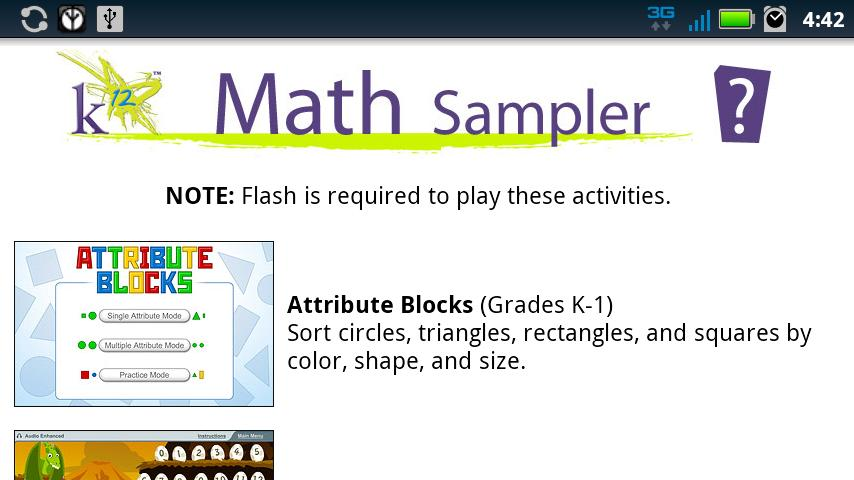 K12 Math Sampler - screenshot