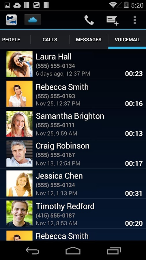 Line2: Calls, SMS & Voicemail - screenshot