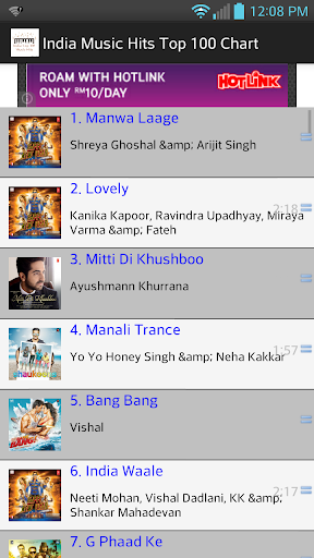 India Top 100 Music Hits
