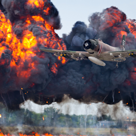 Warbird by Mike Trahan - Transportation Airplanes ( waukegan air show, airplane, background, transportation, composite )