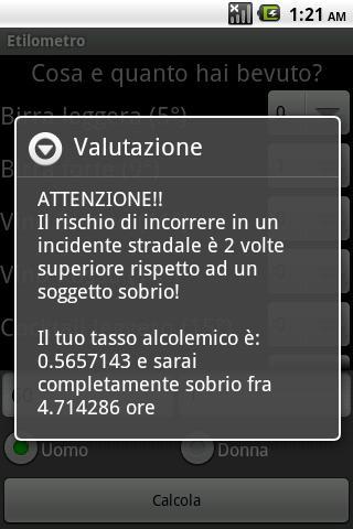Etilometro- screenshot
