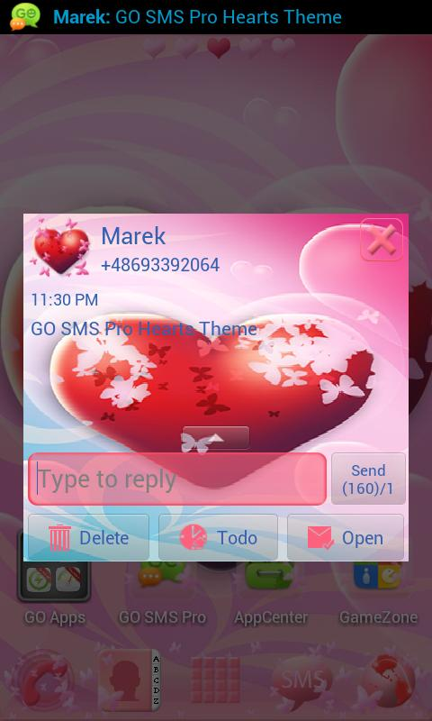GO SMS Pro Hearts Theme - screenshot